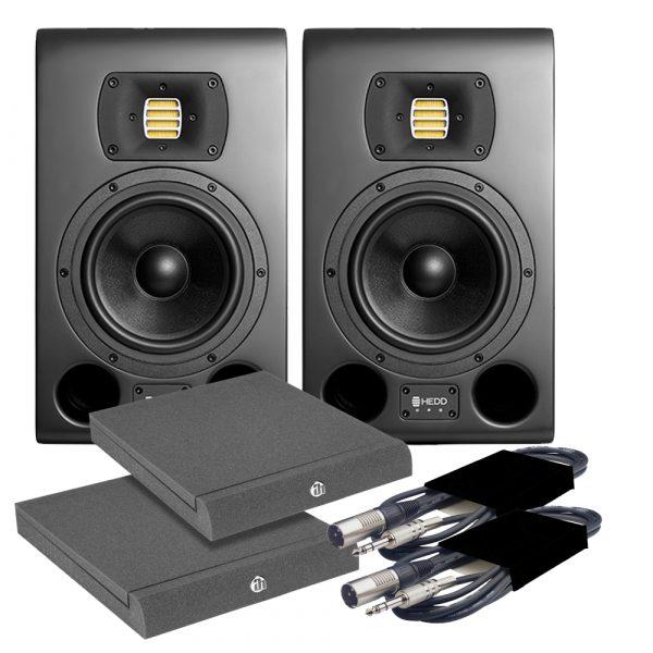 HEDD Type 07 MK2 Black Studio Monitors (Pair) + Pads & Leads Bundle